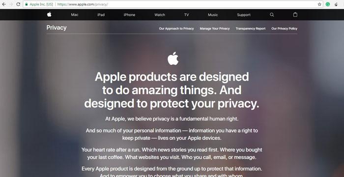 حریم خصوصی اپل
